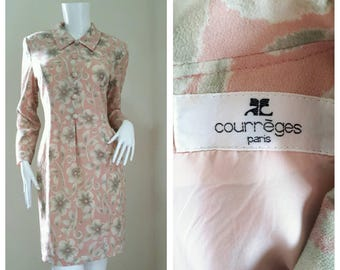 Vintage Courreges Floral Print Mini Dress Size 9AR will fit Small - Medium