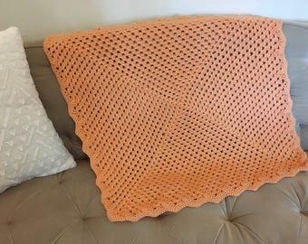 Orange Crocheted Baby Blanket