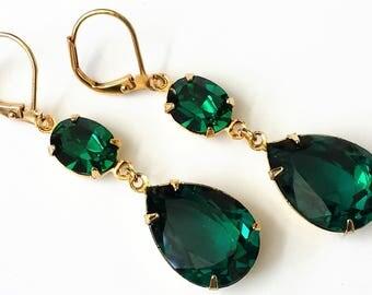 Swarovski Emerald Earrings Emerald Green Crystal Earrings Swarovski Double Drop Green Earrings Emerald Drop Earrings Artisan Emerald Jewelry
