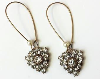 Crystal Heart Earrings Swarovski Heart Earrings Art Deco Earrings Crystal Drop Earrings Valentine Crystal Heart Earrings