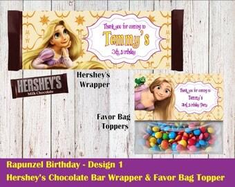Disney Rapunzel Hershey's Wrapper and Favor Bag Toppers