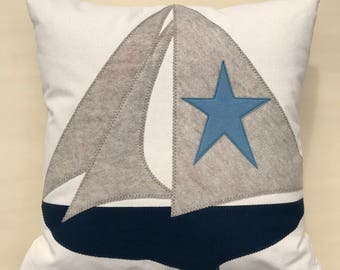 "21"" Sailboat Pillow, Navy Blue Sailboat, Americana home decor, Beach House, Lake House, Coastal Nautical Home Decor, The Salty Cottage"
