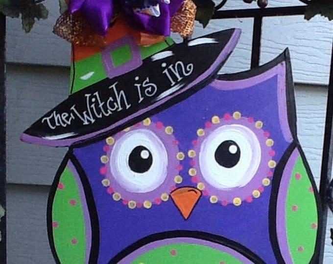 owl door signs, the witch is in sign, halloween door sign, halloween witch sign, halloween owl sign, fall door sign, fall door hanger