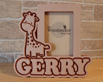 Children's Giraffe Wood Picture Frame - Custom and Personalized with Your Name, Font Choice and Stain or Paint Choice