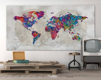 Toile de carte monde etsy for Decoration murale carte du monde