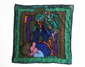 Vintage handkerchief with kneeling Native American in headdress