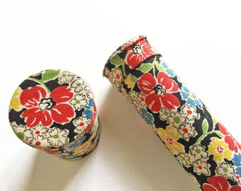 Knitting needle holder - fabric covered cardboard storage tube with pretty floral design