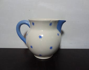 Vintage Waechtersbach Small Ceramic Pitcher/Bud Vase - White with Blue Stars - Made in West Germany - Farmhouse/Shabby Chic Style