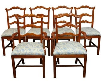 Chippendale Ladder Back Dining Chairs - Set of 6