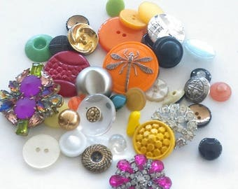 GEMINI SALE Vintage  Button Lot With Rhinestones  Czech Glass Shanks & Sewing Mix / Antique Buttons / Craft Supplies / Mixed Media / Destash