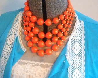 Mod Tangerine Multi Strand Beaded Necklace / Retro / 60's Vintage Accessories / Mad Men / Pretty Gifts Under 30 / Vintage Jewelry