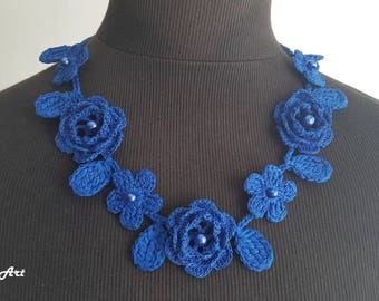Crochet Rose Necklace,Crochet Neck Accessory, Flower Necklace, Royal Blue, 100% Cotton.