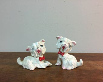 Two Smiling Small White Dogs with Red Bow Figurines, Made in Japan