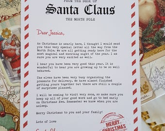 Letter from santa kit with envelope template red christmas for Generic letter from santa