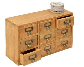 Wood furniture with 9 drawers 36x12cm H.20cm
