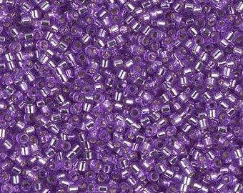 11/0 Dyed Silver Lined Lilac Miyuki Delica, DB-1343, DB1343 Lilac Delica, Delica 1343 Silver Lined Lilac, 6 Grams