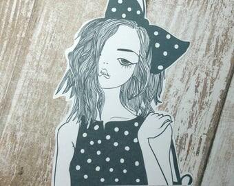 Polka Dot Big Bow Wearing Girl l Die Cuts   Girl Die Cuts   Cute Die Cut   Planner   Fashion Girl  TN   Travelers Journal