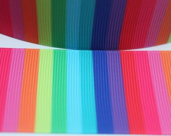 1.5 Inch Rainbow Stripe Grosgrain Ribbon - Grosgrain Ribbon by the Yard for Hairbows, Scrapbooking, and More!!