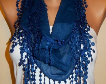 Deep Blue Cotton Scarf, Womens Fashion, Best Christmas Gifts, Blue Shawl, Cotton Scarves, Navy Blue Scarf, Gift fo Her, Birthday Gift
