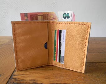 Handmade small apricot colored leather wallet