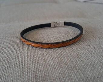 Fancy light brown leather bracelet