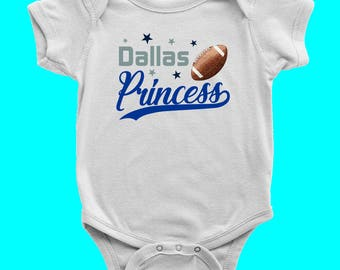 Dallas Princess Bodysuit | Dallas Cowboys | Dallas Football | Baby Girl Romper | Princess Outfit Creeper | One Piece Baby Outfit