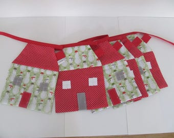 1.50 m 6 red houses Christmas Garland