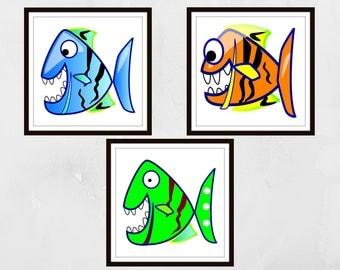 Cartoon fish Prints, Piranha prints, Nursery wall art, Nursery prints, Kids wall art, kids bedroom art, home decor, fish wall art