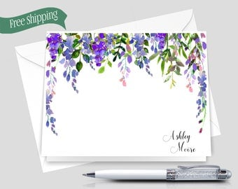 Personalized Flat Note Cards, Floral Stationery Set, Custom Stationary _ Set of 12 with Envelopes _ Signature Collection _ HWM015