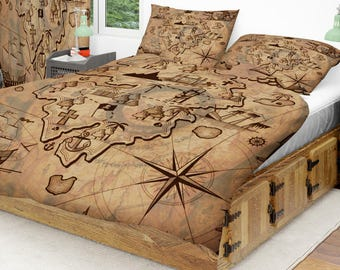 Map Bedding Etsy