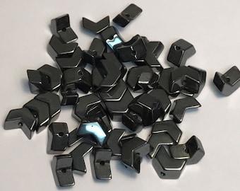 Hematite Beads, Chevron Beads, Metallic Beads, Hematite Chevron Beads, Jewerly Making Supplies, 20PC