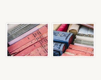 """France Travel Photography, """"Pastel Vintage Books"""", Set of 2 Fine Art Prints, Gallery Wall, Home Decor, Gift"""