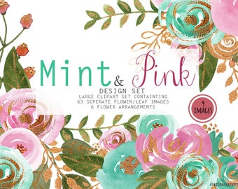Mint & gold clip art, hand painted watercolor clip art, floral clip art, flower bouquets, flower frames, 64 PNG  files (5248)