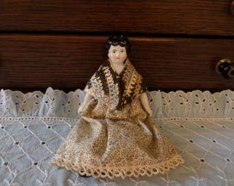 Antique China Head Doll 6 1/4""