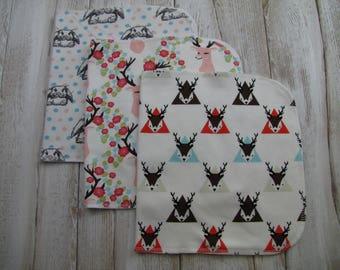 Ready to ship. Baby burp cloths Set of 3. Baby gift. Girl burp cloths.