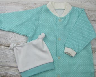 Baby gown and hat, newborn set.