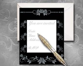 Black & Silver Invitations - Instant Download - Printable Invitation - Elegant Invitation