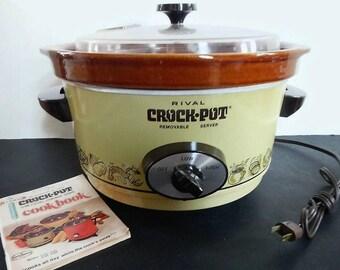 Vintage Rival Crock Pot or Slow-Cooker, Model #3350/1 - WORKS, 5 Quart, harvest gold, brown - removable ceramic insert, 2 settings,cookbook