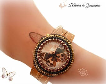 Embroidered bracelet, beadwork, Brown, bronze, black and gold, glass cabochon, leather straps