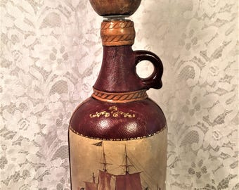 Fausto Corduri Liquor Wine Bottle, Decanter, Leather Covered Italian Bottle, Three Masted Sailing Ship, Bar Decor, Tavern Decor.