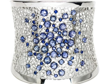 Crivelli 18k White Gold Rigid Bracelet with Sapphires and Diamonds Size Large