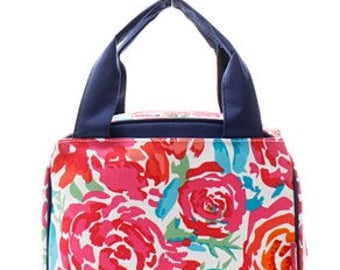 Monogrammed/Personalized Insulated Lunch Tote/Bag, Flower Lunch Bag