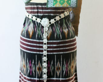Lao Thai silk textile - sarong decoration style - narrow table runner - silk weaving,Thai Shawl, shoulder cloth for Thai dress,