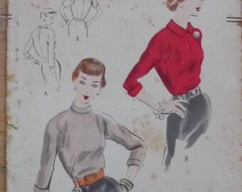 "Vintage Sewing Pattern. Vogue 7497. Blouse pattern 1951 34"" bust."