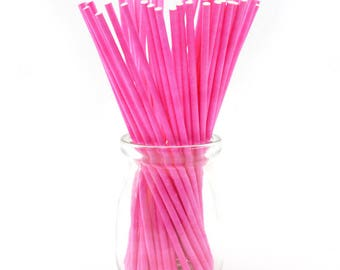 """100 Pcs. 4"""" Lollipop Sticks, 4 inch - ( 10cm) Long, Pink Food Grade Candy Stick - Perfect for Candy, Chocolate, Cake Pop , hs154"""