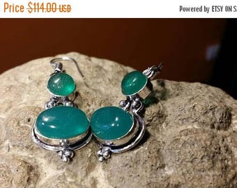 Holiday SALE 85 % OFF Green Onyx Earrings Tribal Ethnic Gemstone  .925 Sterling  Silver