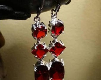 Holiday SALE 85 % OFF Garnet    Earrings Gemstone  .925 Sterling  Silver