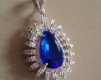 Holiday SALE 85 % OFF London Blue  Topaz  Pendant Gemstones  . 925 Sterling Silver