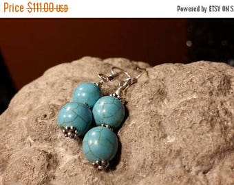 Holiday SALE 85 % OFF Turquoise  Earrings .925 Sterling Silver Gemstone
