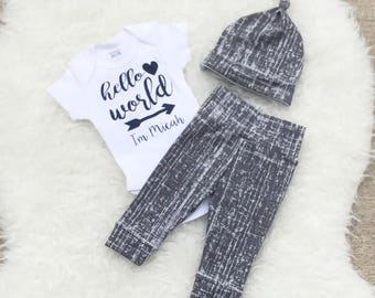 Hello World Newborn Outfit Boy, Hello World Baby, Newborn Boy Coming Home Outfit, Newborn Boy, Coming Home Outfit Baby Boy, Coming Home